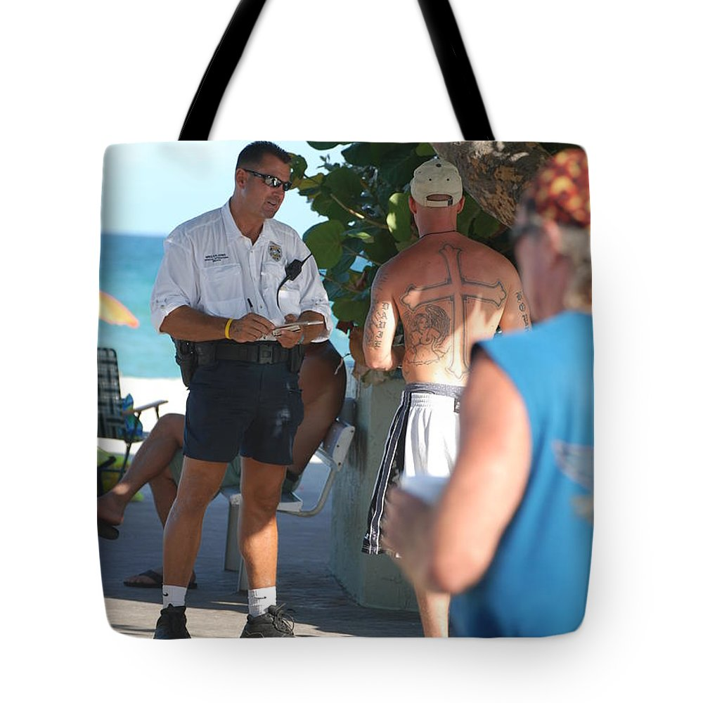 Cops Tote Bag featuring the photograph Beach Cops And Christ by Rob Hans