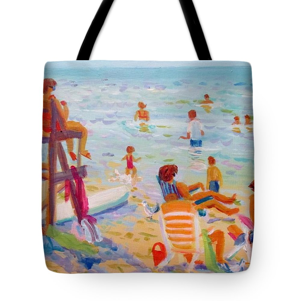 Beach Tote Bag featuring the painting Beach Day by Linda Emerson