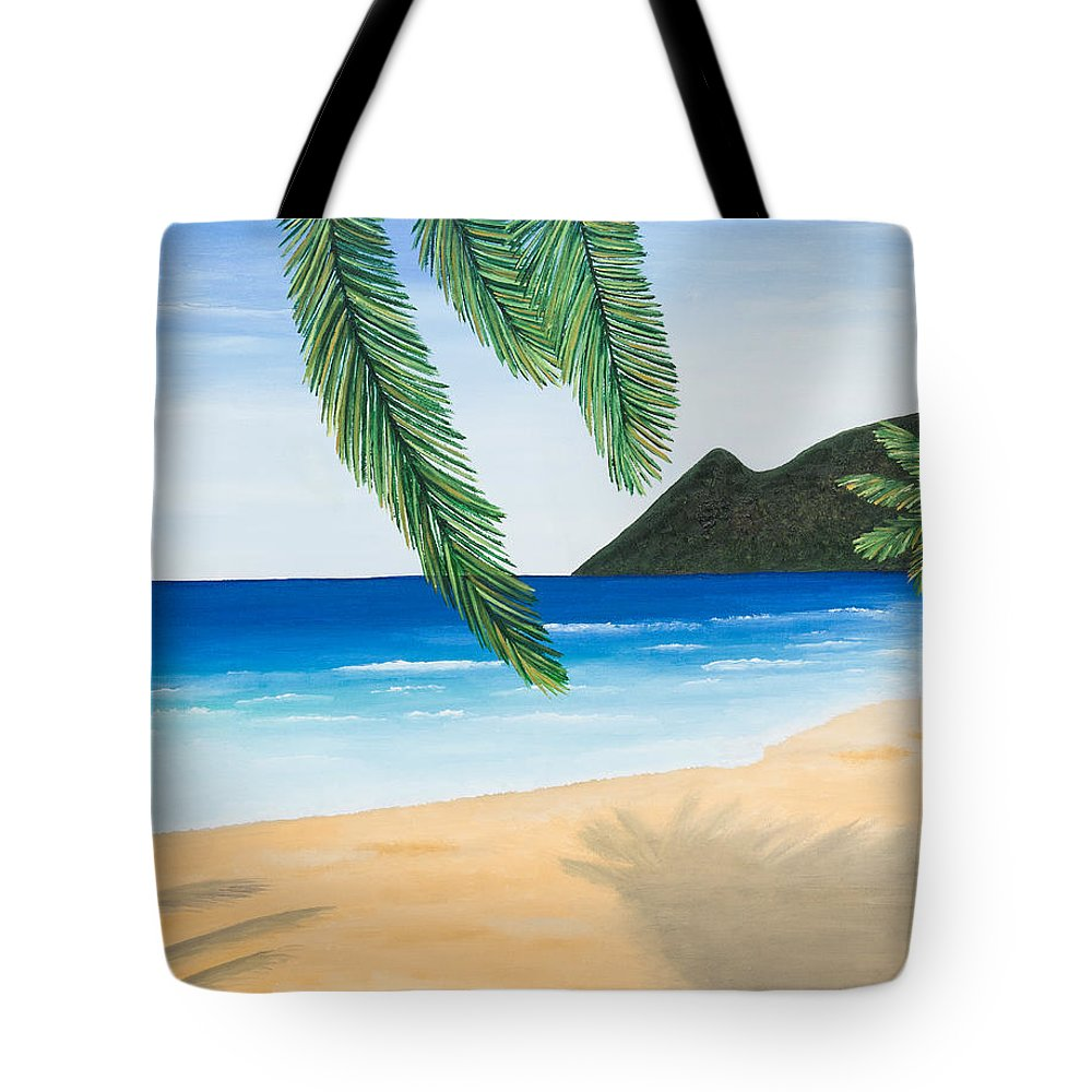 Oil Tote Bag featuring the painting Beach Day by Sandra Lorant