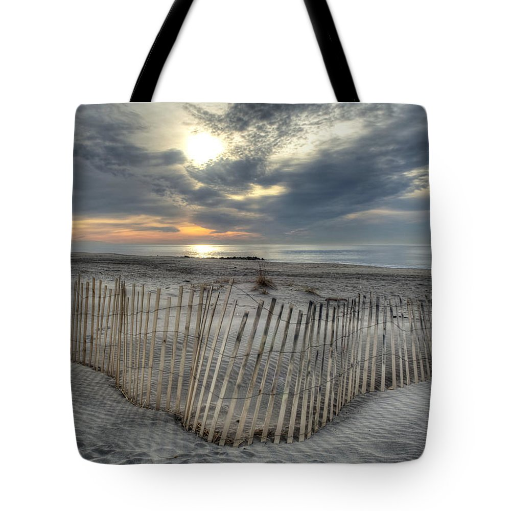 Landscape Tote Bag featuring the photograph Beach Fence by Mike Deutsch