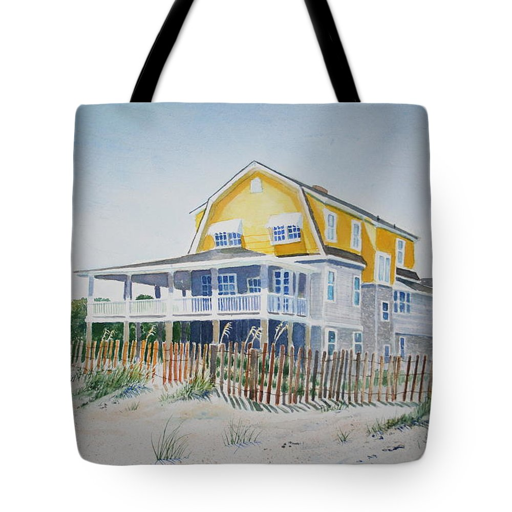 Ocean Tote Bag featuring the painting Beach Front At Wrightsville Beach by Tom Harris