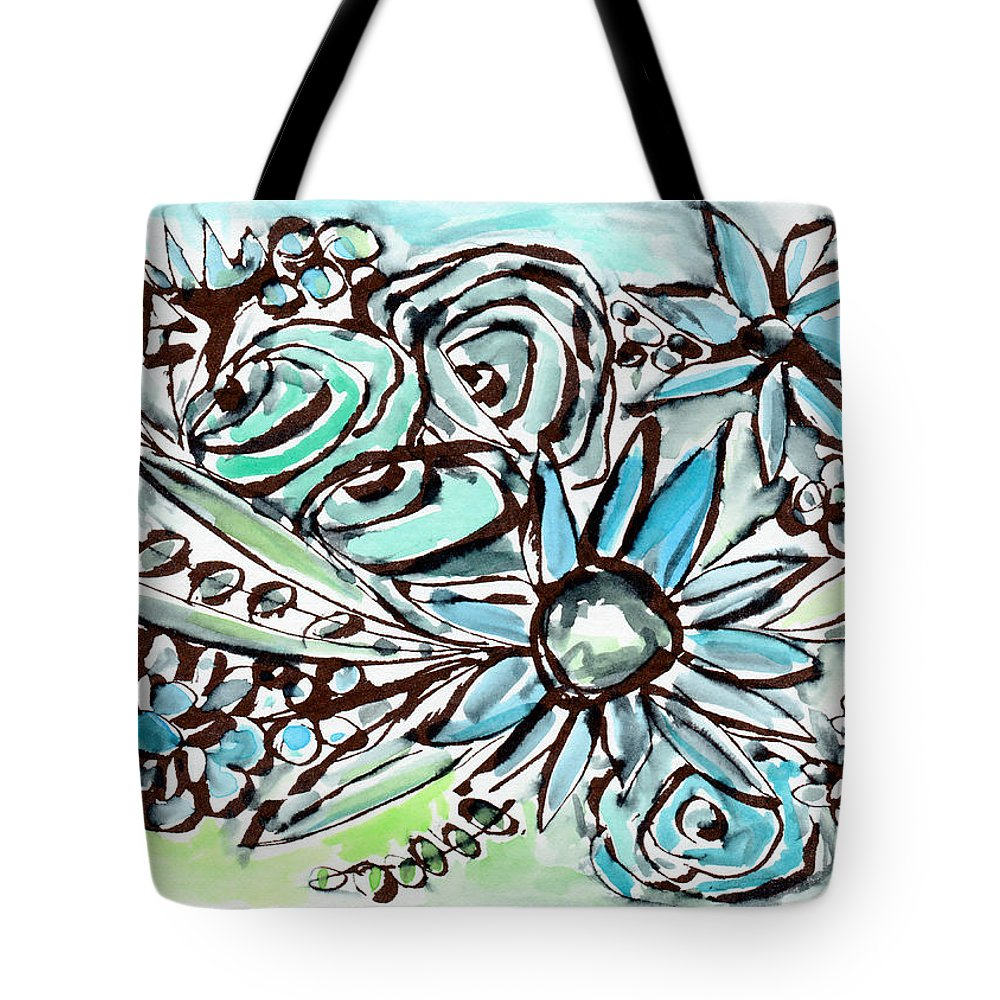 Flowers Tote Bag featuring the painting Beach Glass Flowers 1- Art By Linda Woods by Linda Woods
