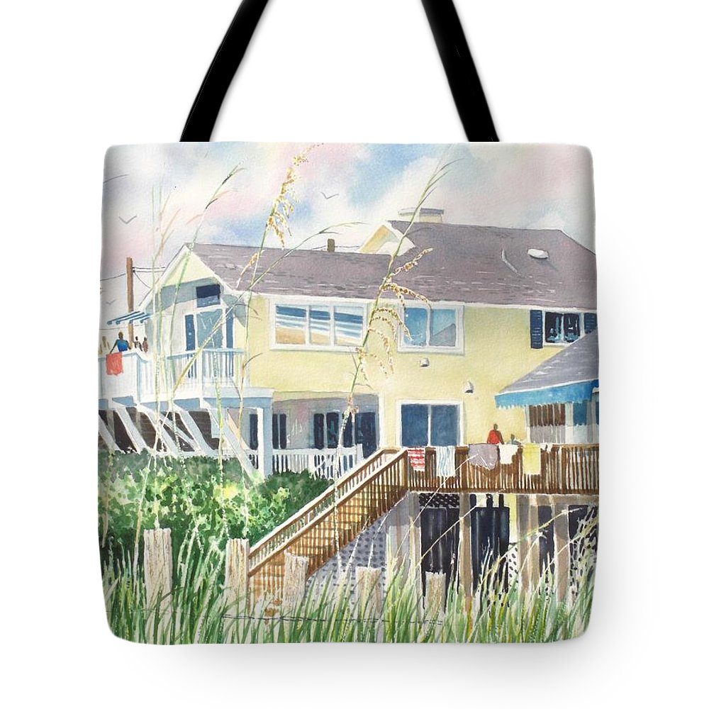 Seascape Tote Bag featuring the painting Beach House At Wrightsville Beach by Tom Harris