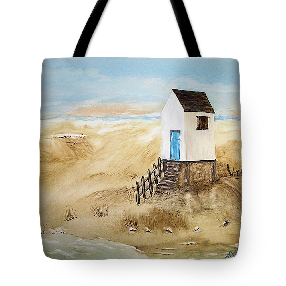 Ocean Tote Bag featuring the painting Beach House by Maris Sherwood