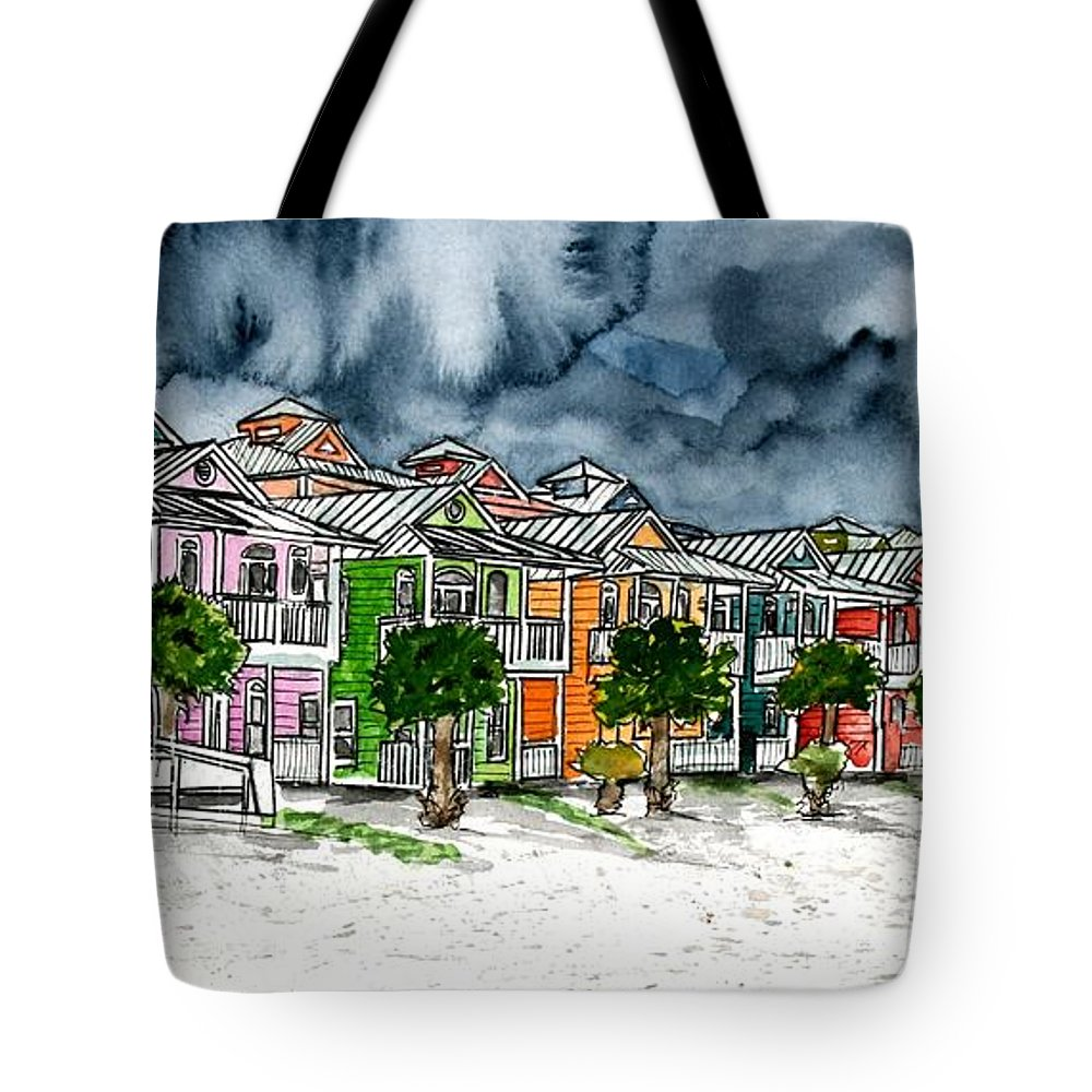 Watercolor Tote Bag featuring the painting Beach Houses Watercolor Painting by Derek Mccrea