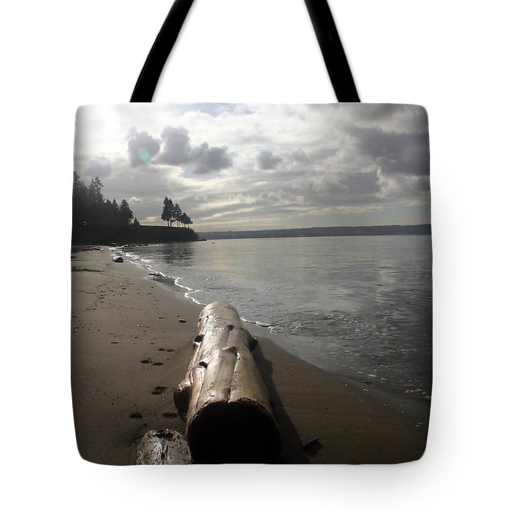 Seascape Tote Bag featuring the photograph Beach Logs by Mary Haber