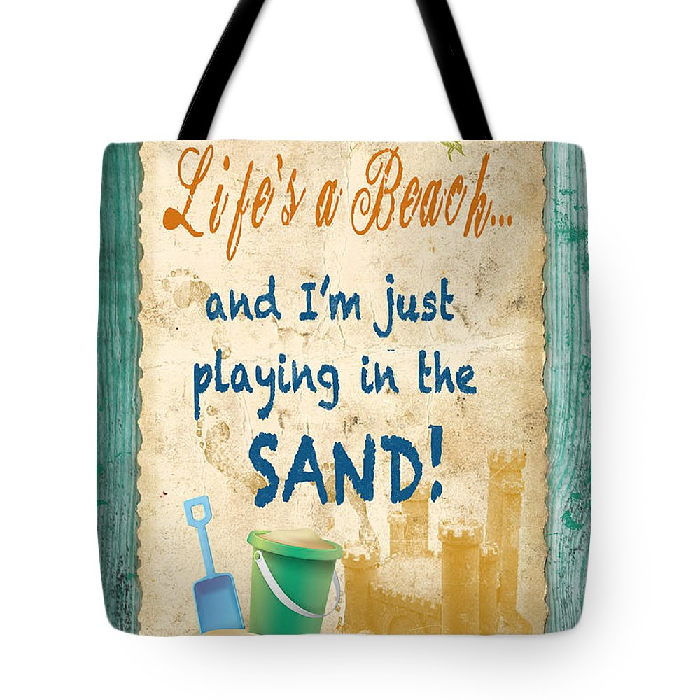 Digital Art Tote Bag featuring the painting Beach Notes-jp3762 by Jean Plout