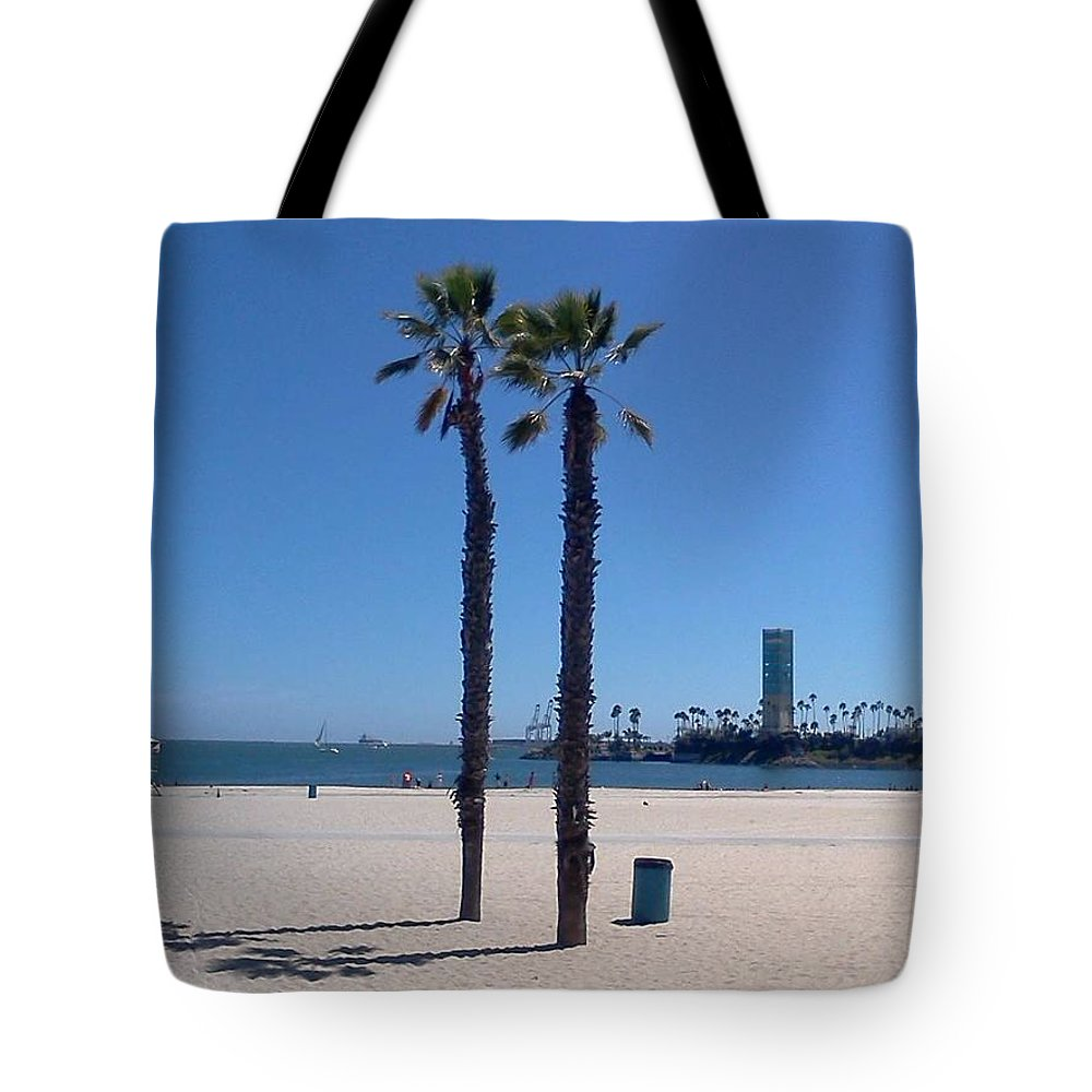 Long Beach Tote Bag featuring the photograph Beach Palms by Jaime Paberzis