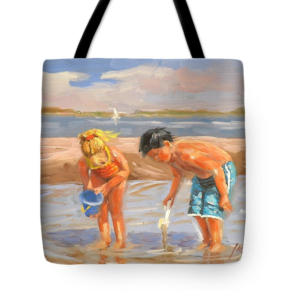 Beach Tote Bag featuring the painting Beach Pals by Laura Lee Zanghetti