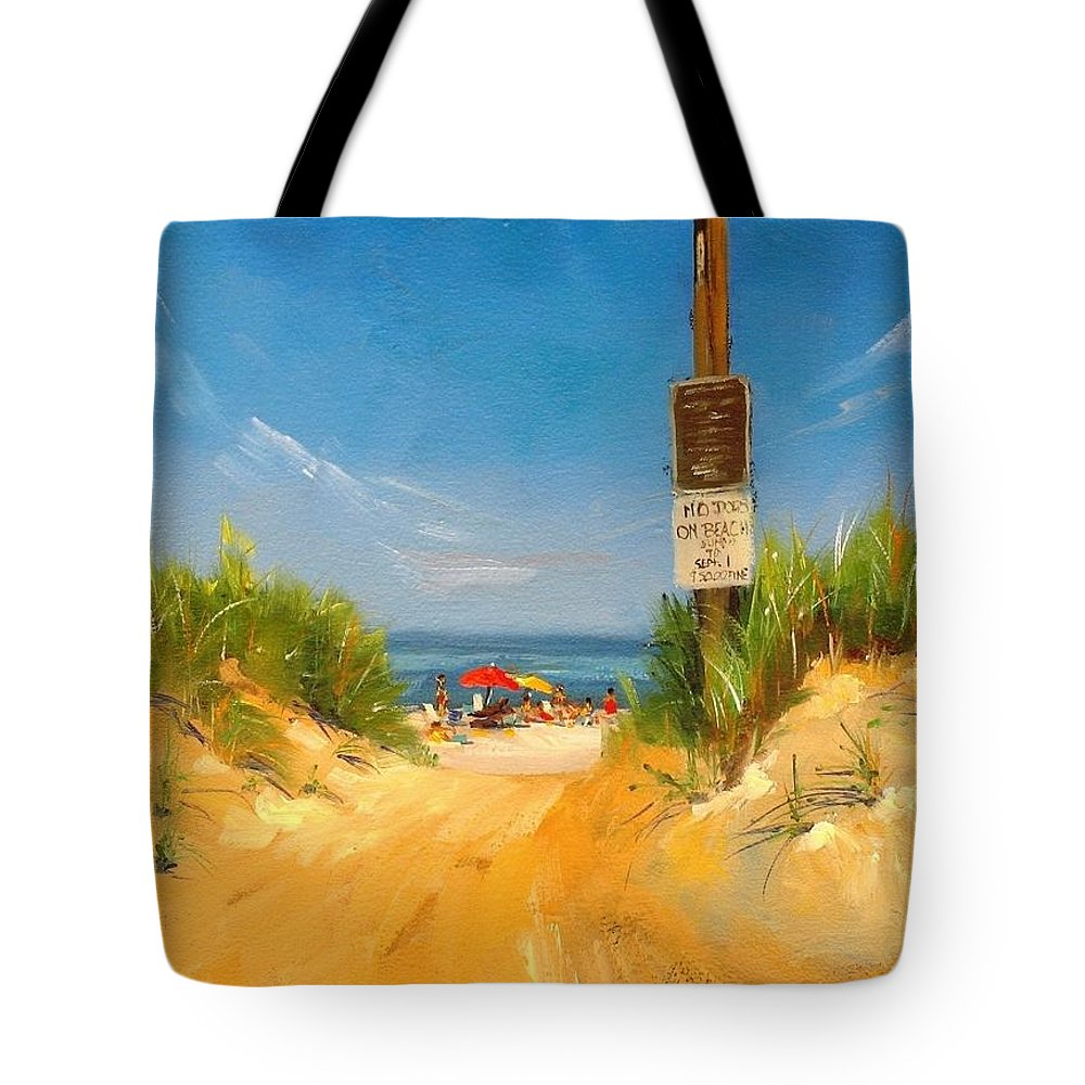 Oil Painting Tote Bag featuring the painting Beach Path by Laura Lee Zanghetti