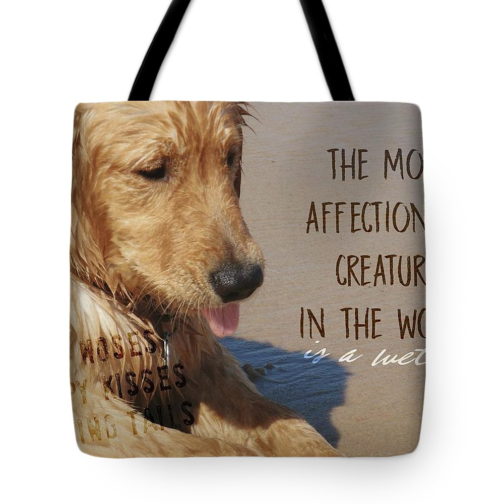 Canine Tote Bag featuring the photograph Beach Pup Quote by JAMART Photography