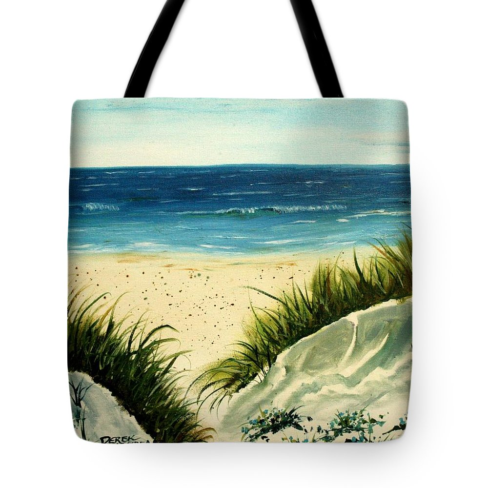 Beach Tote Bag featuring the painting Beach Sand Dunes Acrylic Painting by Derek Mccrea