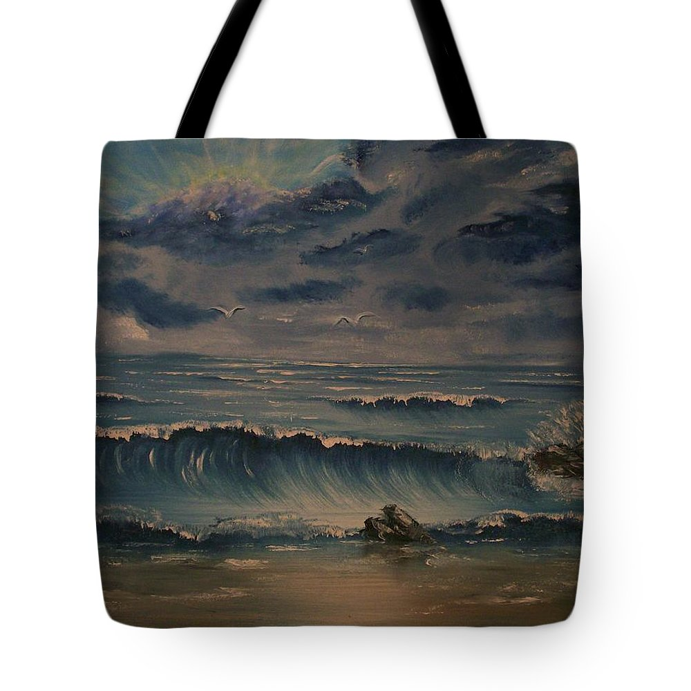 Water Tote Bag featuring the painting Beach Scene by Stephen King
