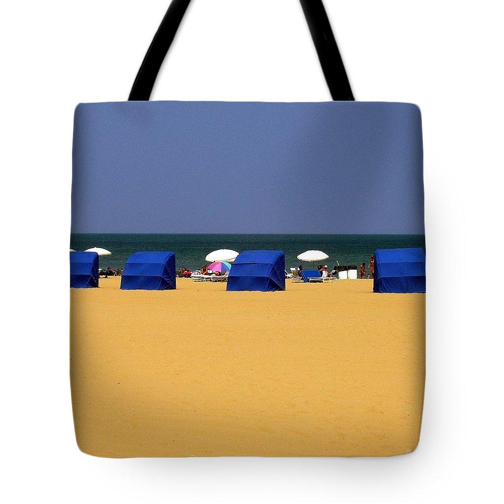 Beach Tote Bag featuring the photograph Beach Tents by Deborah Crew-Johnson