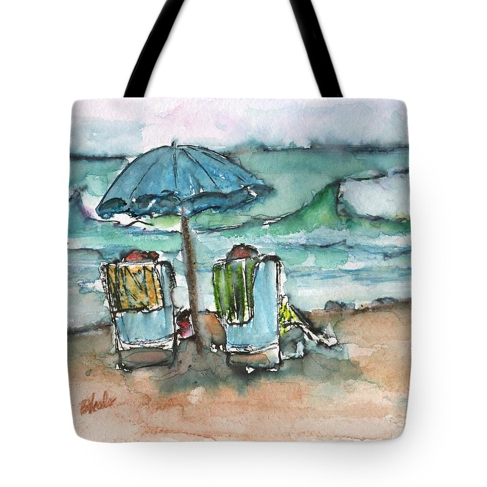 Relaxing On The Beach Tote Bag featuring the painting Beach Time by Bev Veals
