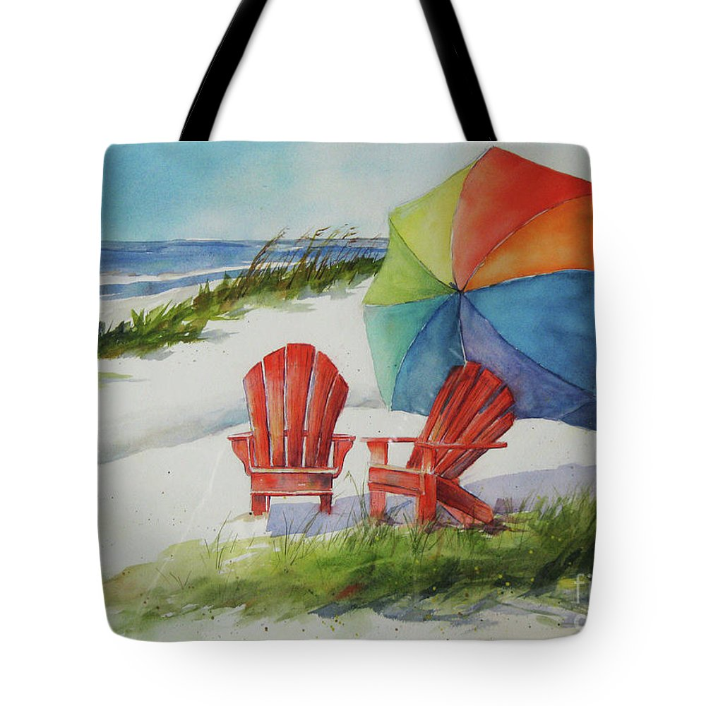 Umbrellas Tote Bag featuring the painting Beach Time by Marsha Young