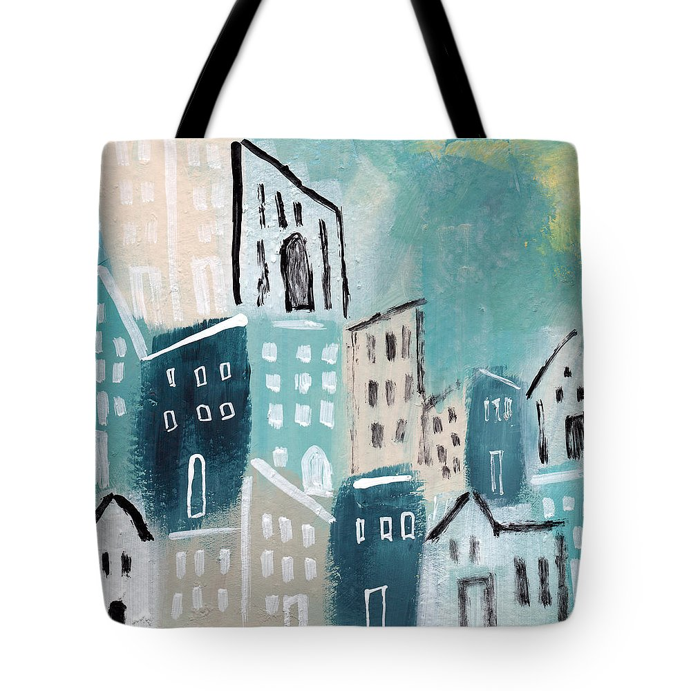 Town Tote Bag featuring the painting Beach Town- Art by Linda Woods by Linda Woods