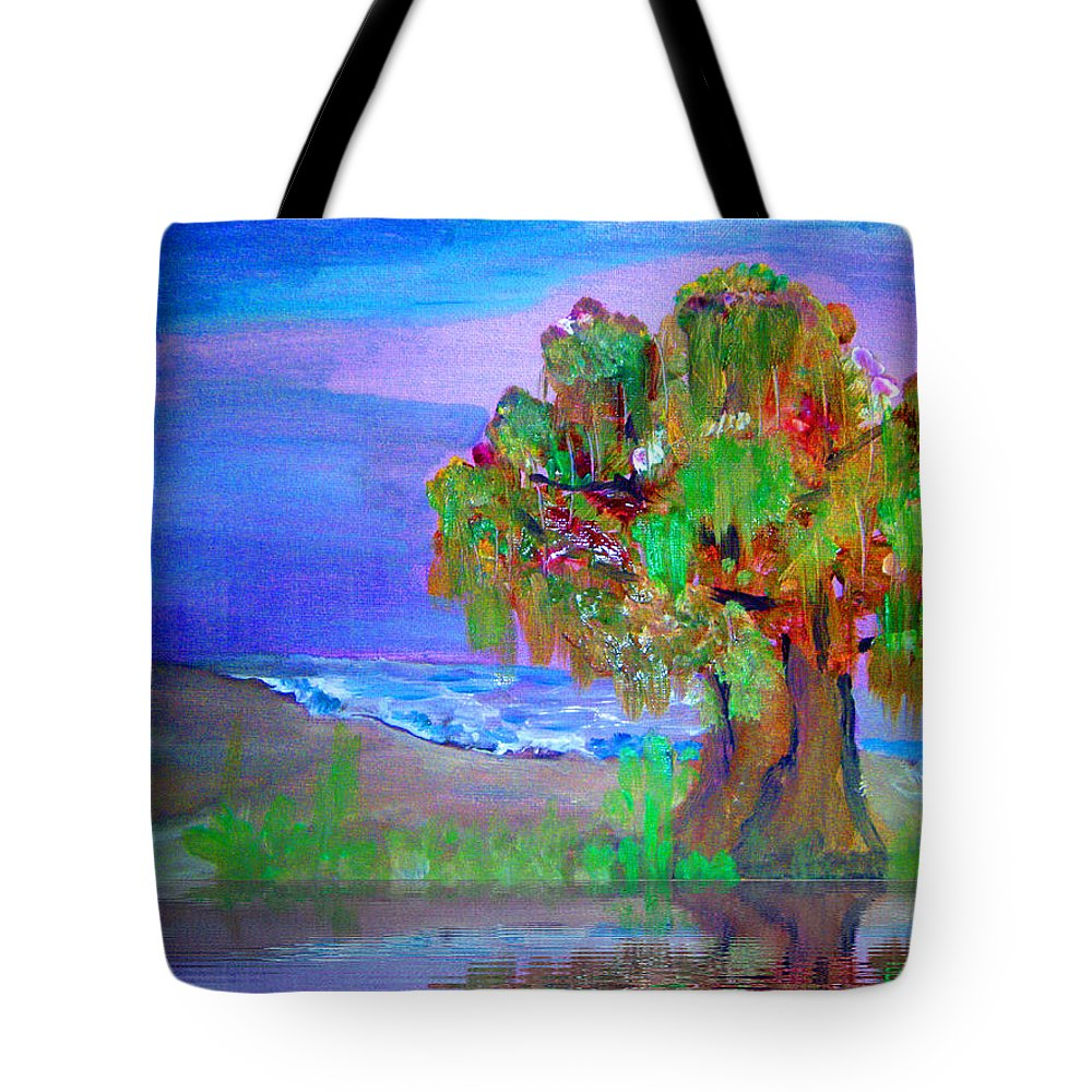 Color Tote Bag featuring the painting Beach Tree by Colleen Ranney