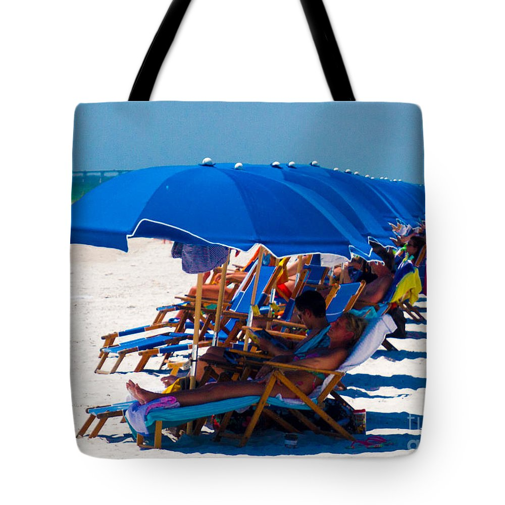 Blue Tote Bag featuring the photograph Beach Umbrellas By Darrell Hutto by J Darrell Hutto