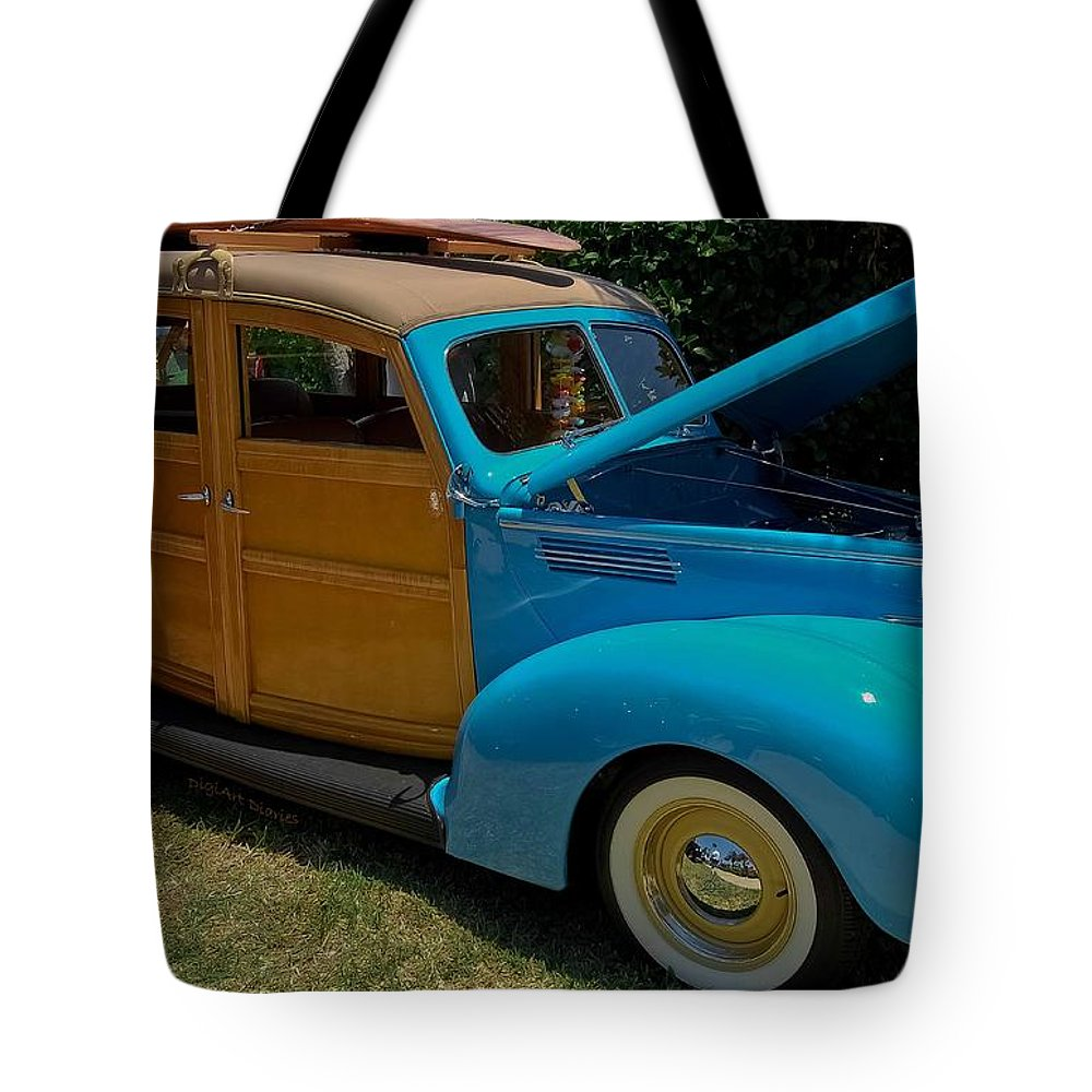 1939 Tote Bag featuring the photograph Beach Wagon by DigiArt Diaries by Vicky B Fuller