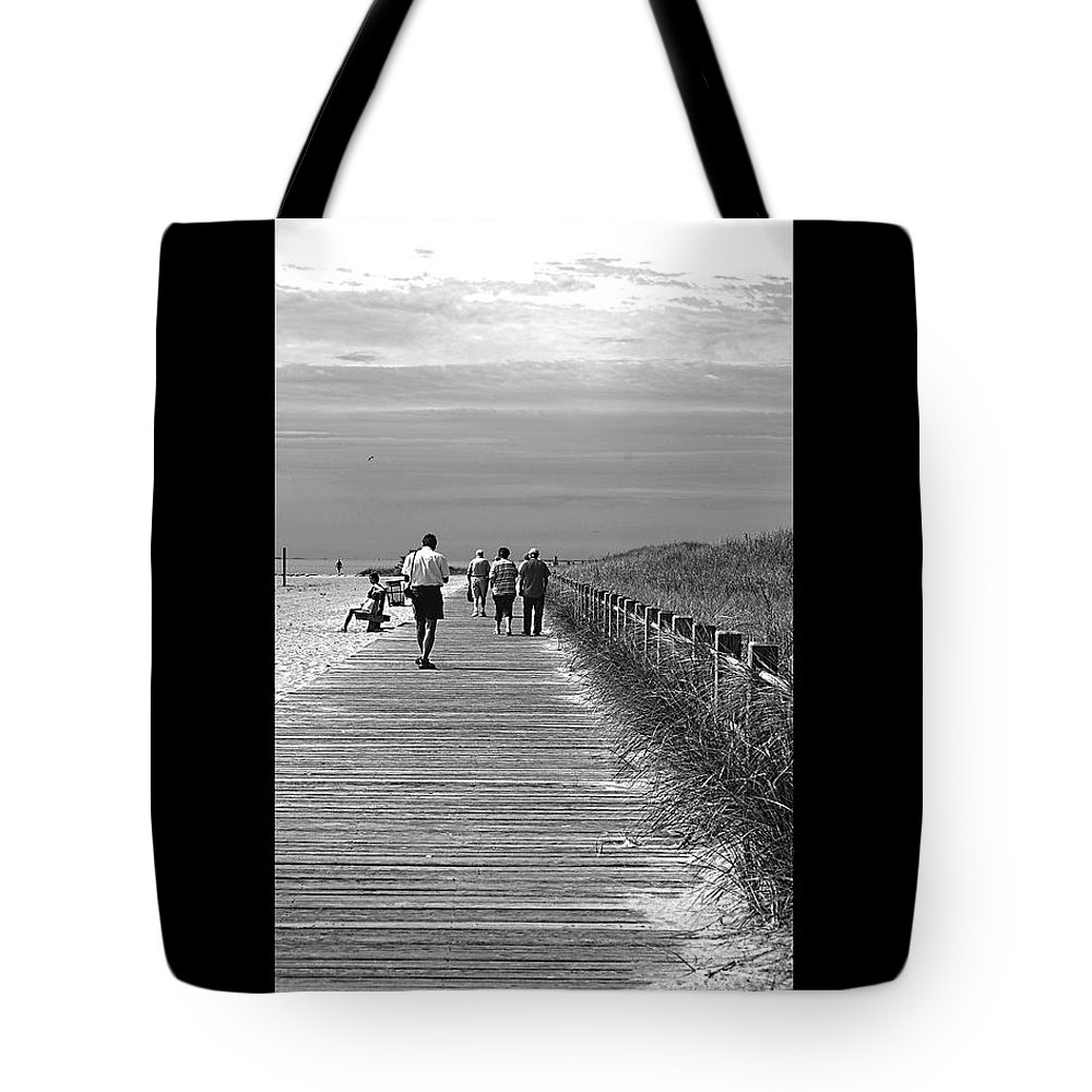 Boardwalk Tote Bag featuring the photograph Beach Walk by J Todd