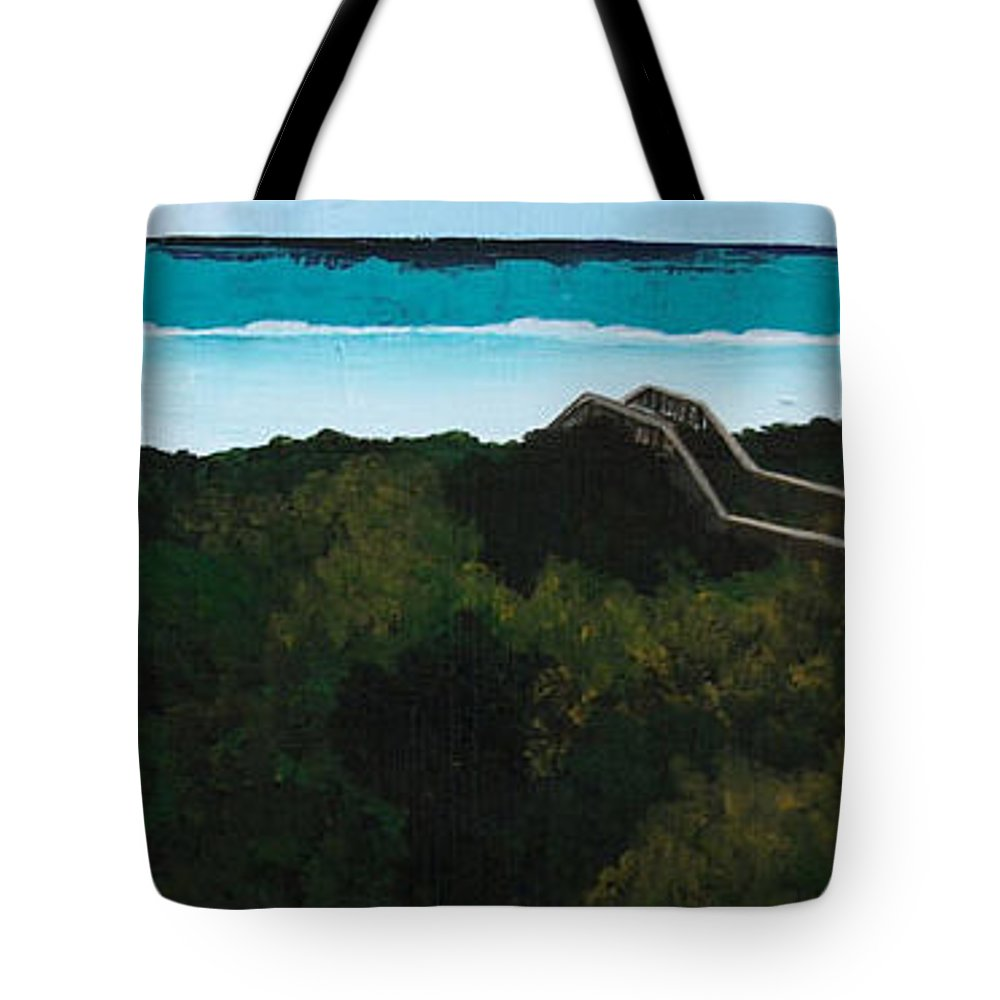 Seagrove Beach Tote Bag featuring the painting Beach Walkover by Racquel Morgan