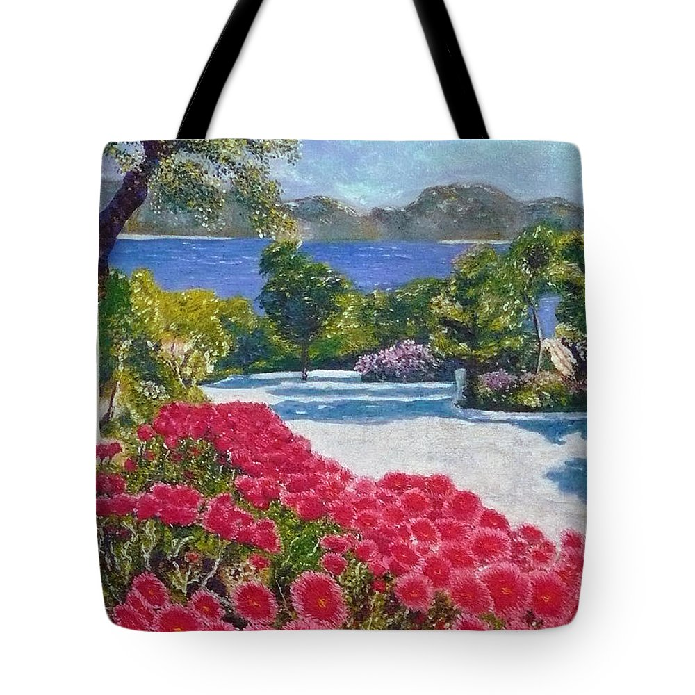 Landscape Tote Bag featuring the painting Beach With Flowers by Ericka Herazo