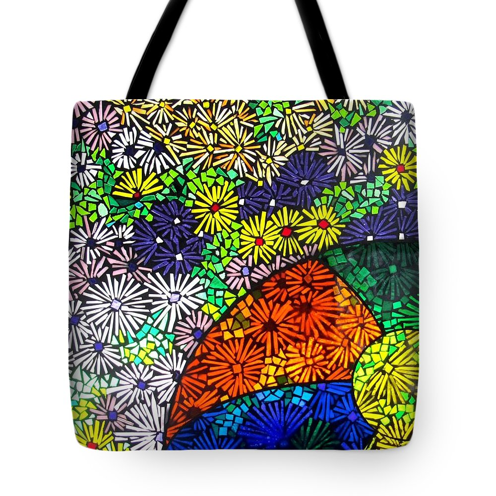 Tote Bag featuring the glass art Beachballs And Daisies by Jeffrey Todd Moore