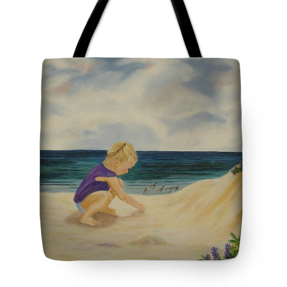 Child Tote Bag featuring the painting Beachcomber by Susan Kubes