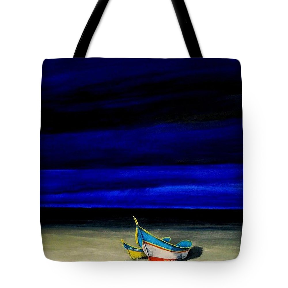 Landscape Painting Tote Bag featuring the painting Beached by Edith Peterson
