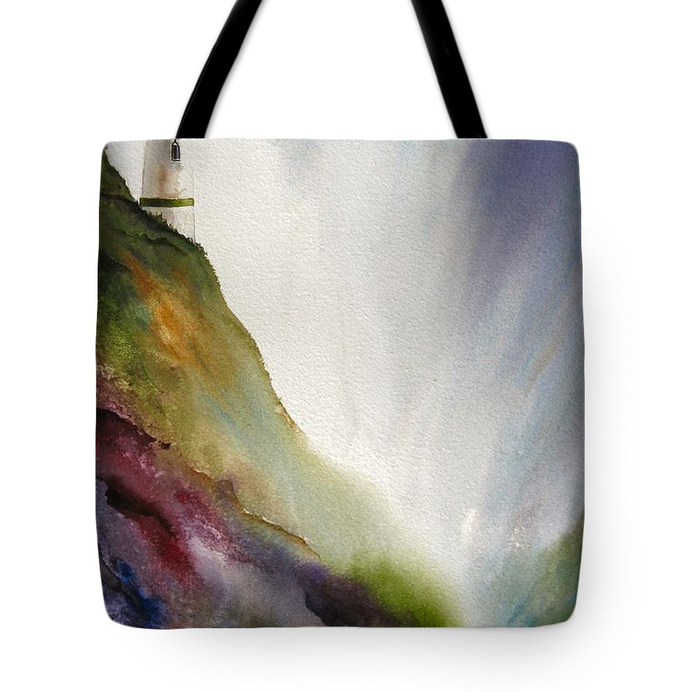 Lighthouse Tote Bag featuring the painting Beacon by Karen Stark