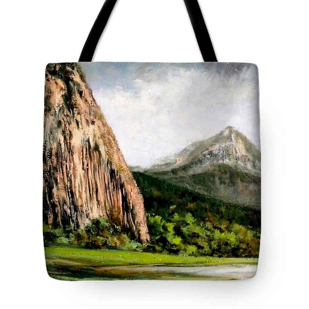 Landscape Tote Bag featuring the painting Beacon Rock Washington by Jim Gola
