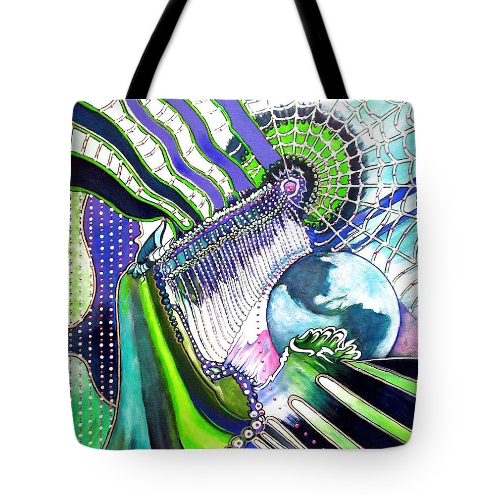 Earth Green Blue Energy Web Abstract Flowing Bright Tote Bag featuring the painting Beaded Curtain by Judi Cain