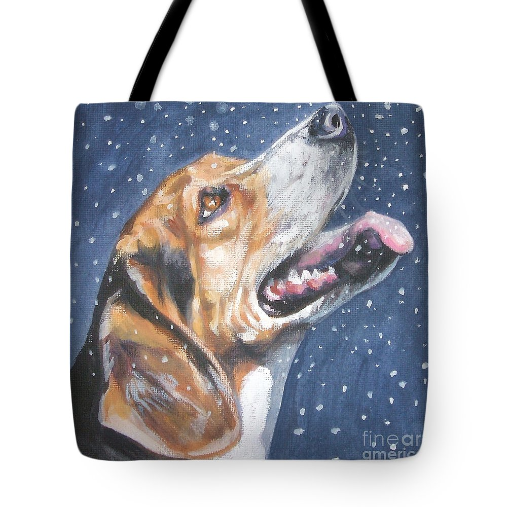 Beagle Tote Bag featuring the painting Beagle In Snow by Lee Ann Shepard
