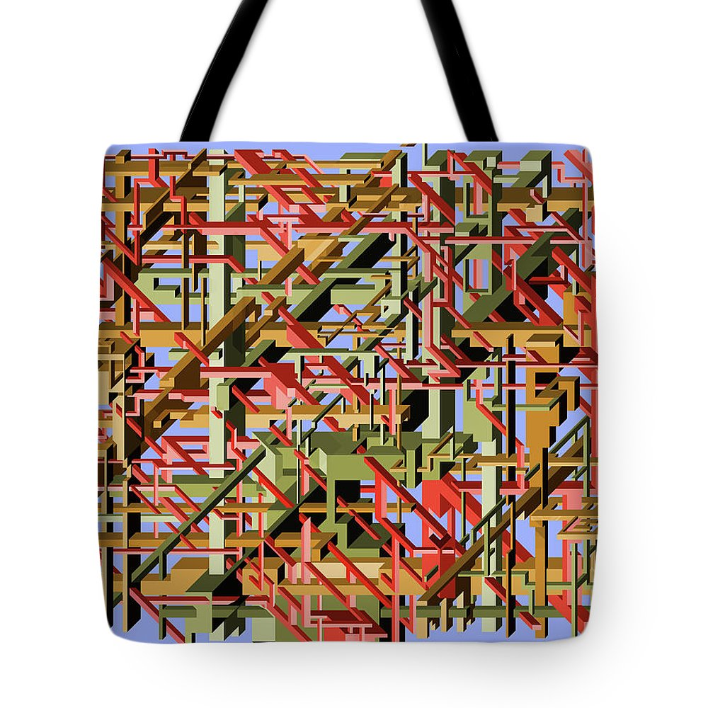Beams Tote Bag featuring the painting Beams Abstract Art by Ely Greenhut