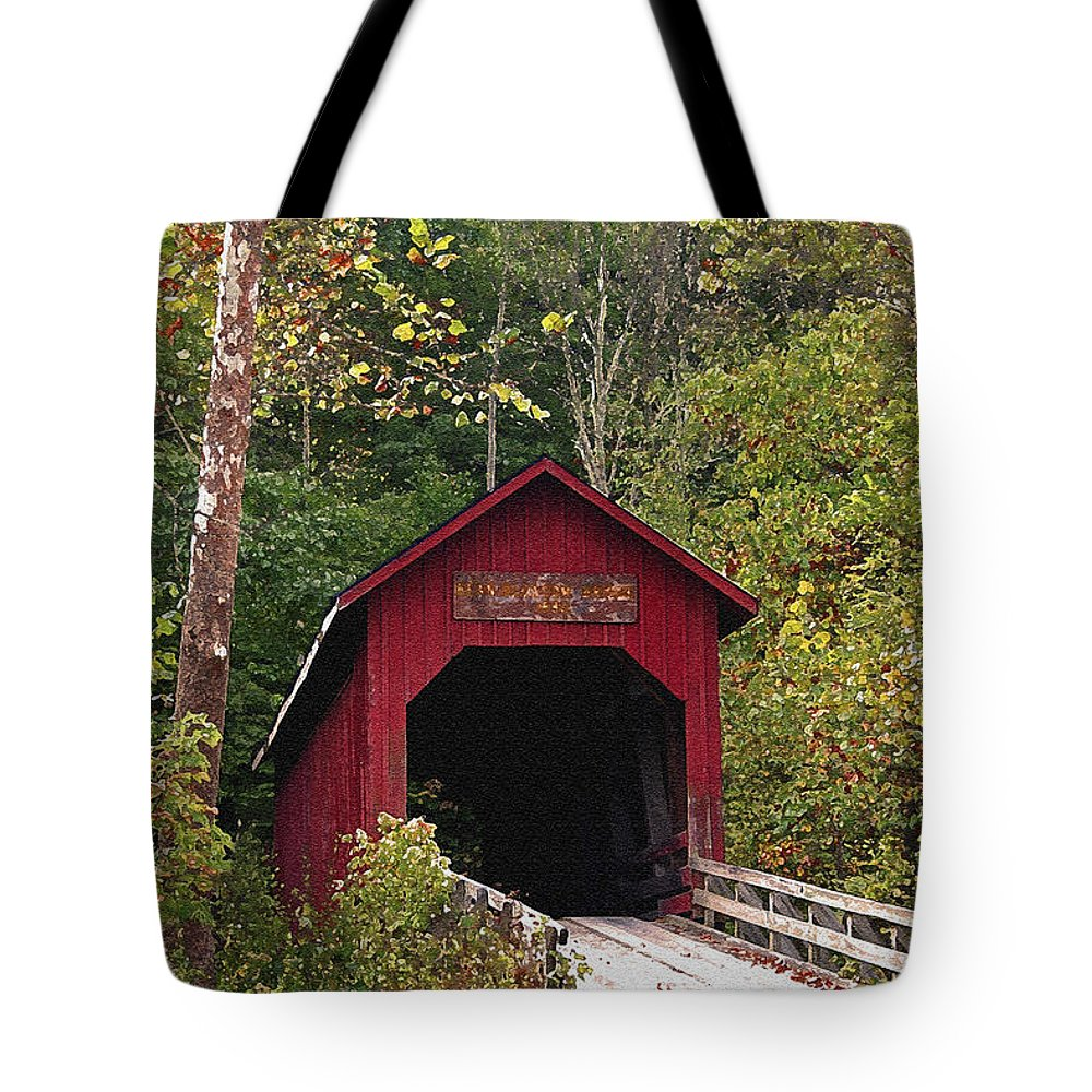 Covered Bridge Tote Bag featuring the photograph Bean Blossom Bridge I by Margie Wildblood