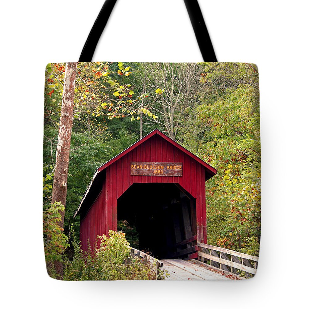 Covered Bridge Tote Bag featuring the photograph Bean Blossom Bridge II by Margie Wildblood