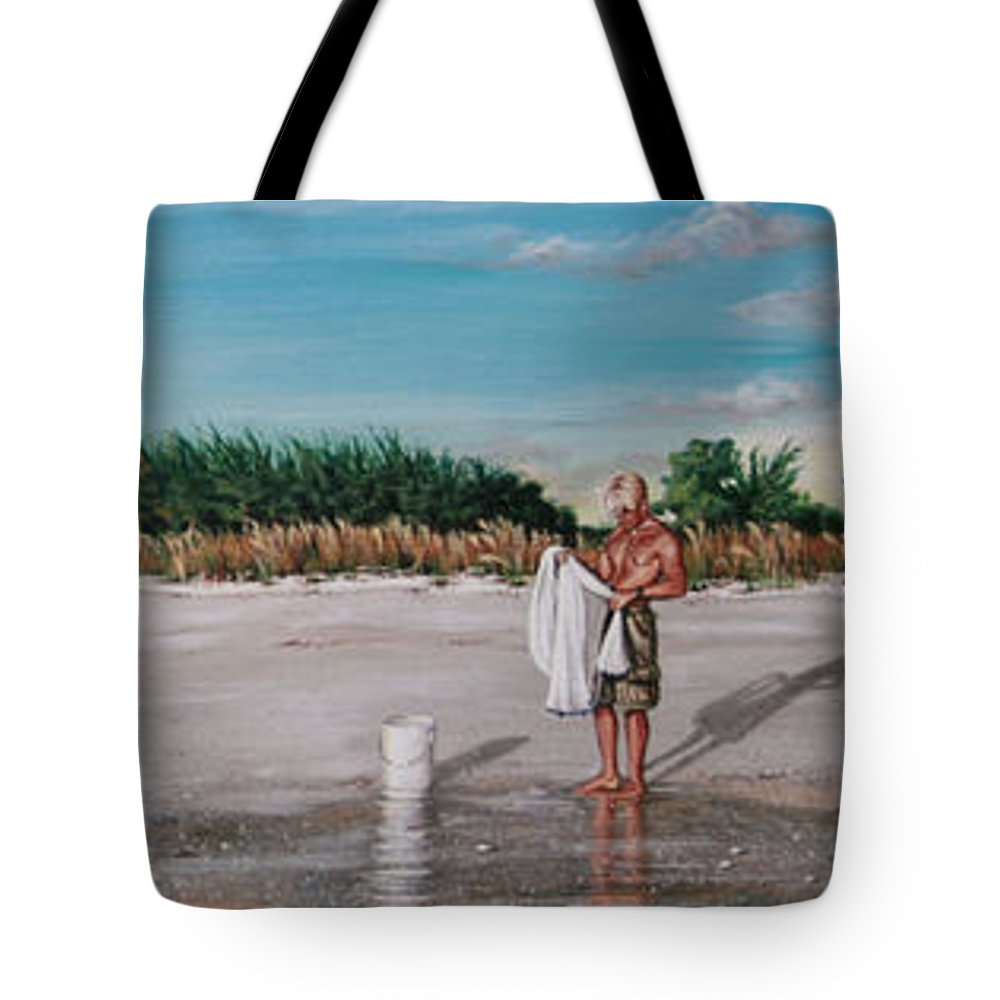 Beach Tote Bag featuring the painting Bean Point by Joan Garcia