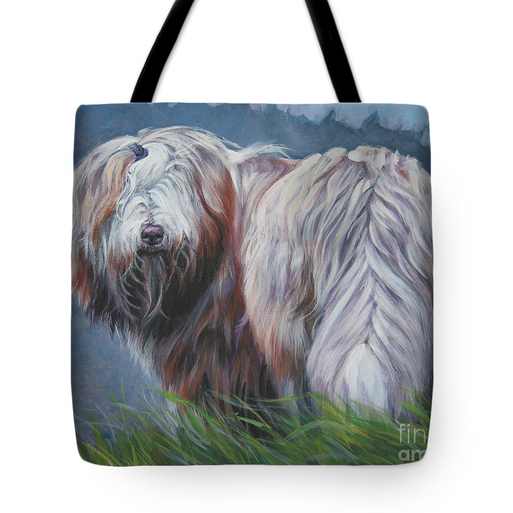 Bearded Collie Tote Bag featuring the painting Bearded Collie In Field by Lee Ann Shepard