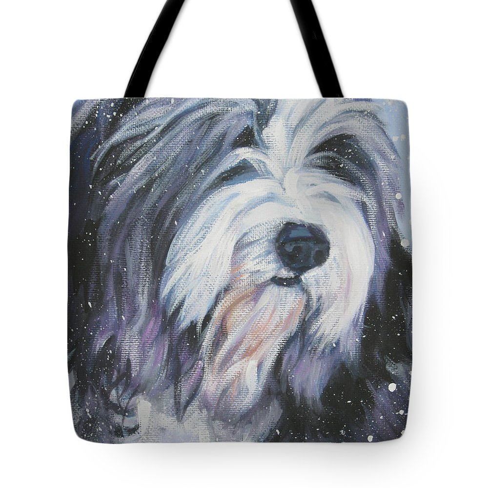 Bearded Collie Tote Bag featuring the painting Bearded Collie In Snow by Lee Ann Shepard