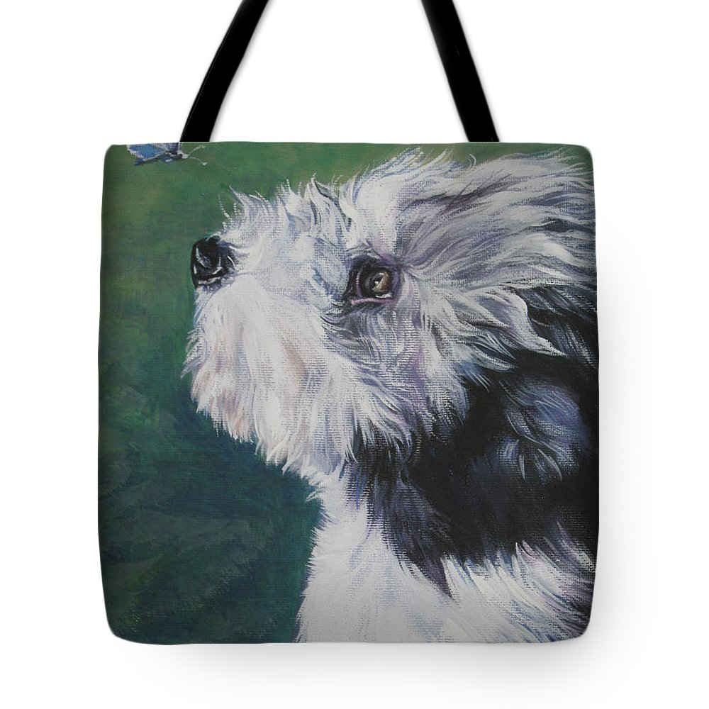 Bearded Collie Tote Bag featuring the painting Bearded Collie Pup With Butterfly by Lee Ann Shepard