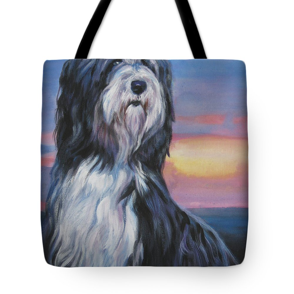Bearded Collie Tote Bag featuring the painting Bearded Collie Sunset by Lee Ann Shepard