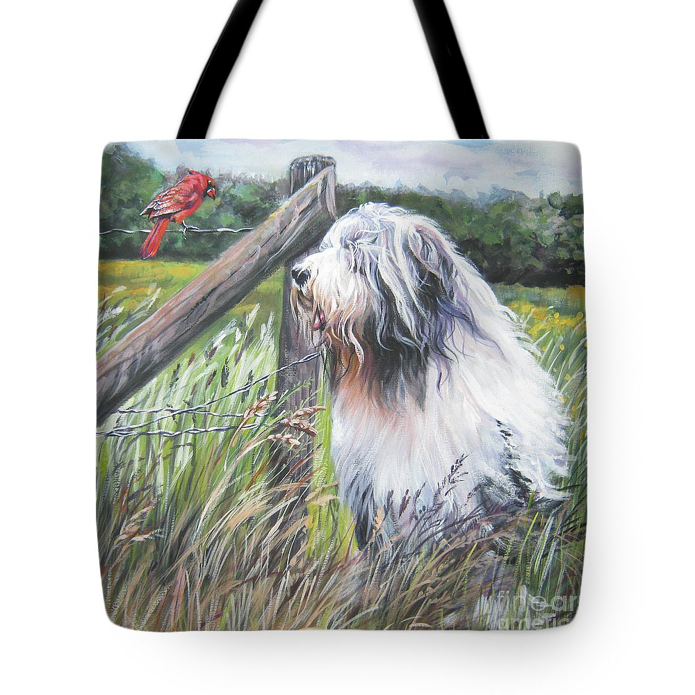 Bearded Collie Tote Bag featuring the painting Bearded Collie With Cardinal by Lee Ann Shepard