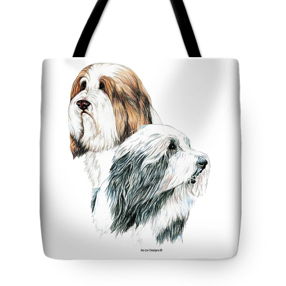 Bearded Collies Tote Bag featuring the drawing Bearded Collies by Kathleen Sepulveda