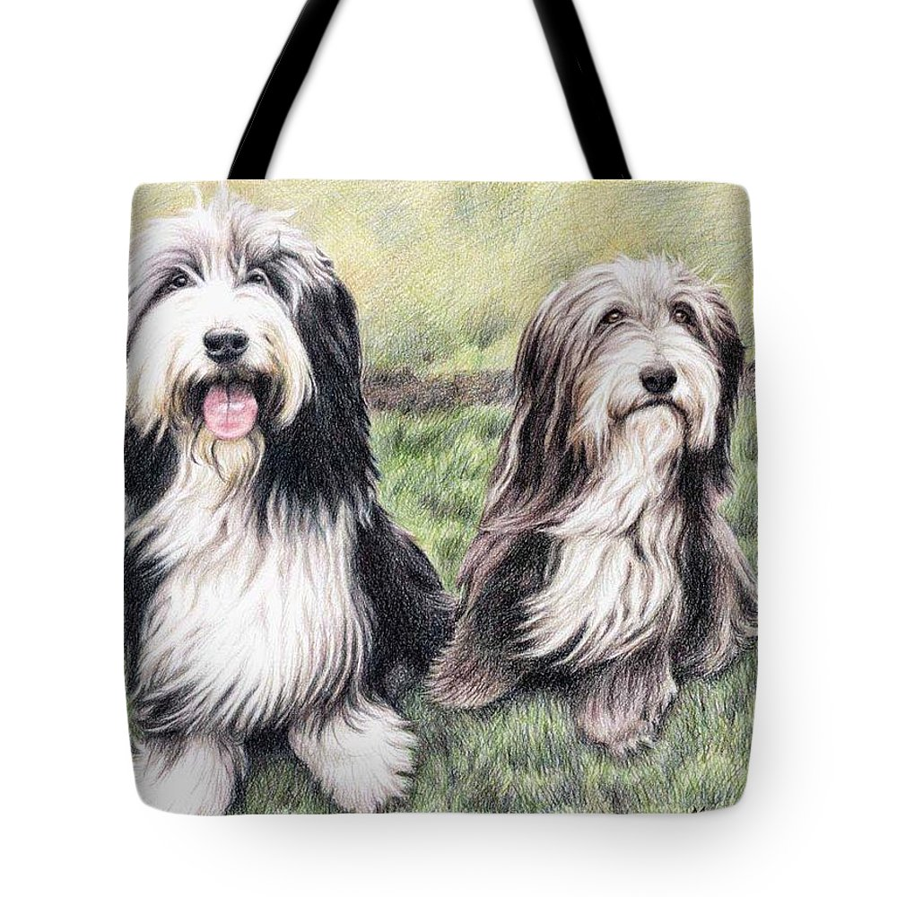Dogs Tote Bag featuring the drawing Bearded Collies by Nicole Zeug