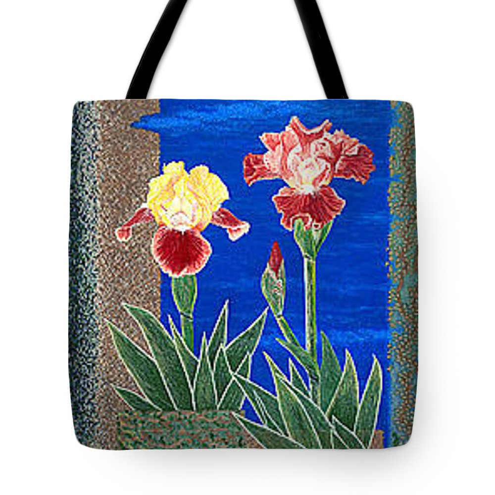 Irises Tote Bag featuring the painting Bearded Irises Cheerful Fine Art Print Giclee High Quality Exceptional Color by Baslee Troutman