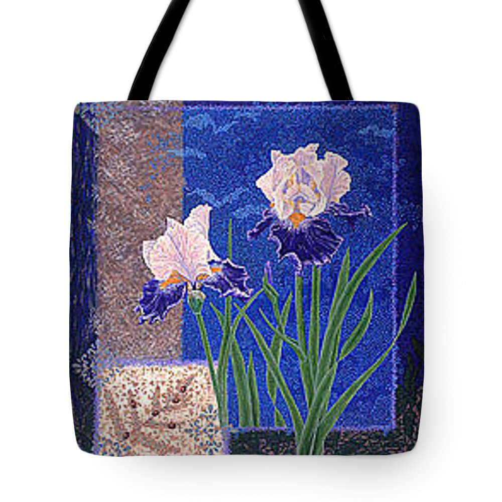 Irises Tote Bag featuring the painting Bearded Irises Fine Art Print Giclee Ladybug Path by Baslee Troutman