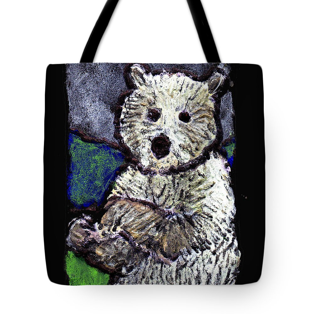 Bear Tote Bag featuring the painting Bearly Scary by Wayne Potrafka