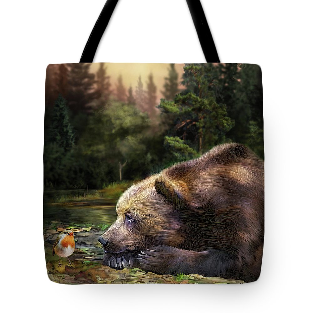 Carol Cavalaris Tote Bag featuring the mixed media Bear's Eye View by Carol Cavalaris