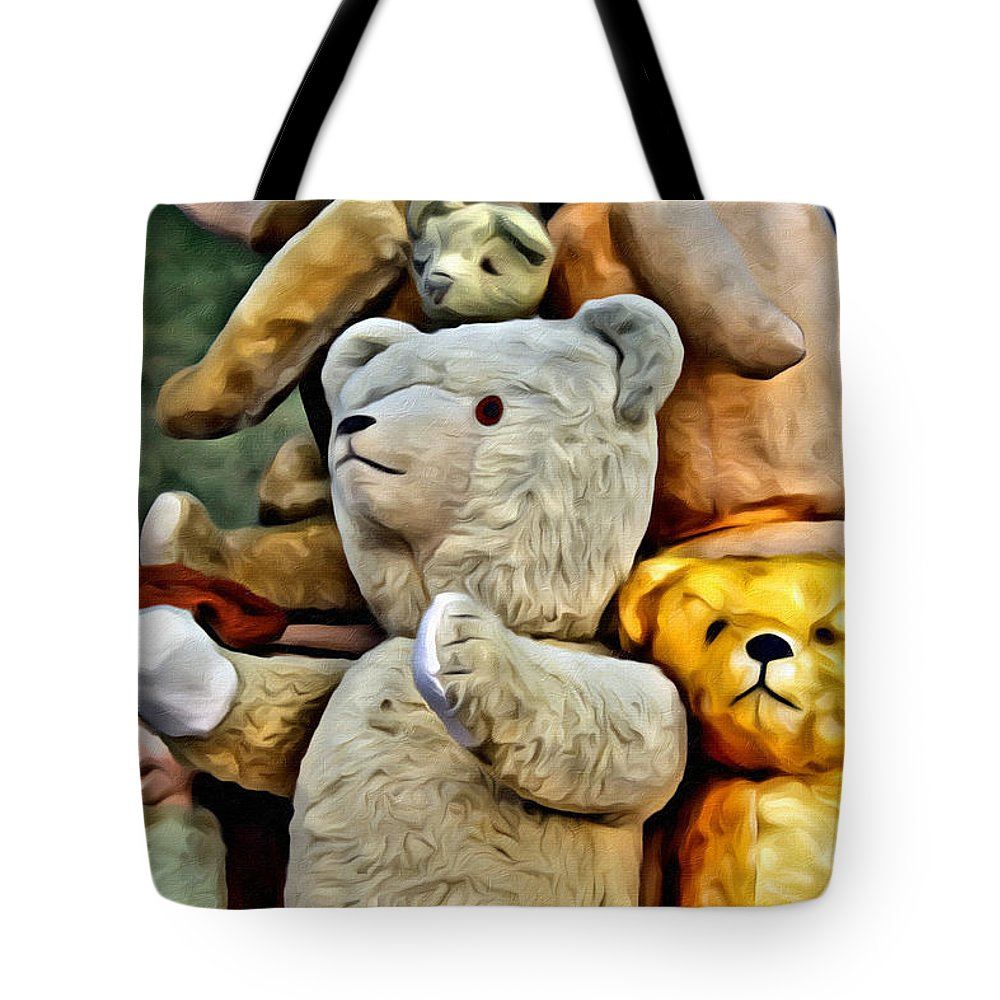 Bears Tote Bag featuring the painting Bears For Sale by Modern Art